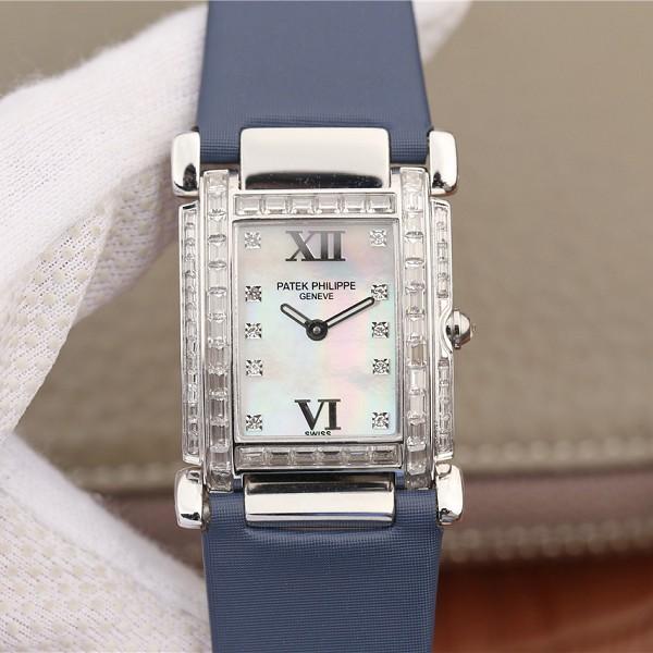 18K白金镶钻仿表百达翡丽 高仿百达翡丽Twenty~4系列方形表盘 石英女士腕表