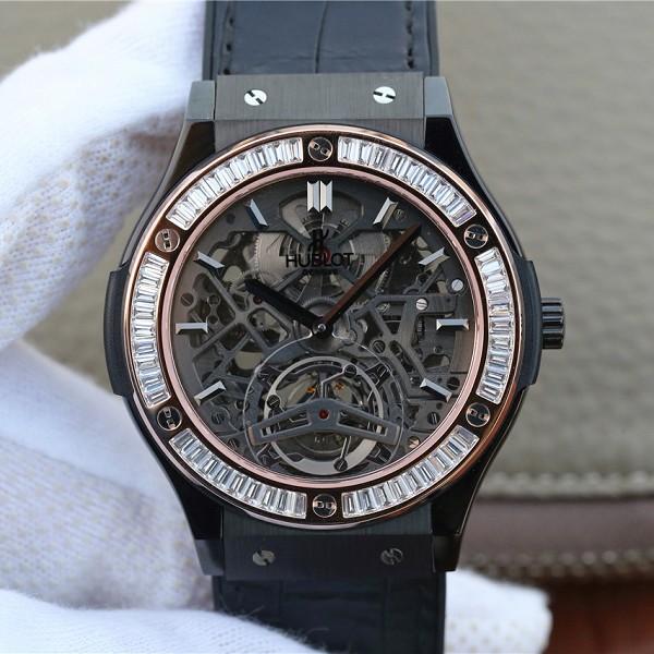 复刻宇舶手表价格及图片 精仿复刻宇舶经典融合系列潮流男士闪亮T钻 玫瑰金男士机械腕表