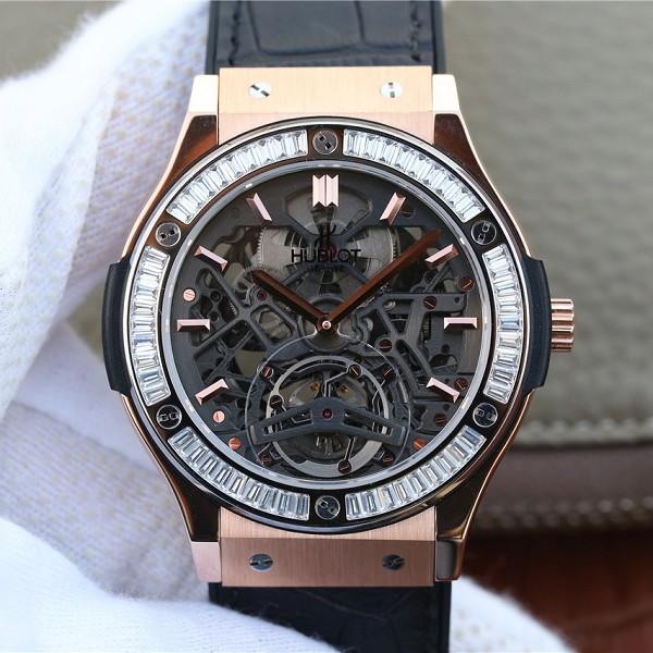 高仿宇舶价格 精仿复刻宇舶经典融合系列潮流男士闪亮T钻 玫瑰金男士机械腕表