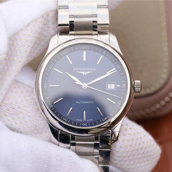高仿浪琴蓝盘手表图片 高仿复刻浪琴名匠系列L2.628.4.97.6 男士机械手表