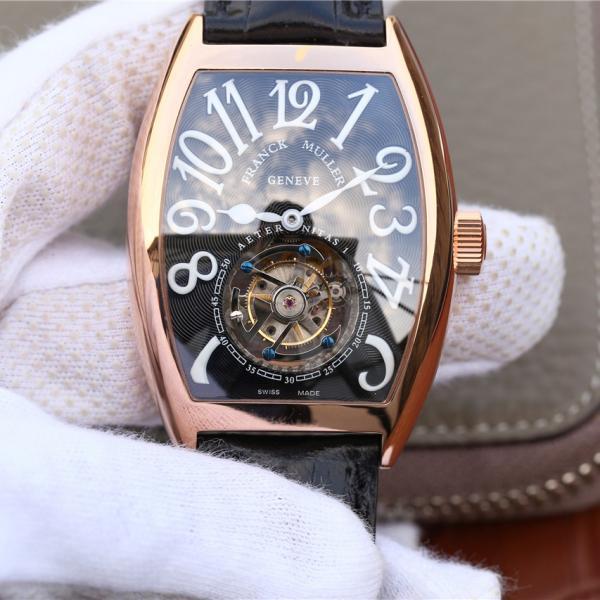 法兰穆真陀飞轮 高仿法兰克穆勒8880真陀飞轮玫瑰金黑面 男士机械手表