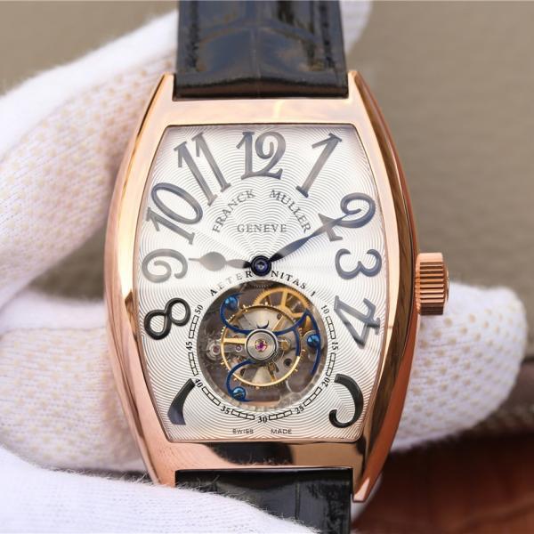 一比一精仿法兰穆陀飞轮表 高仿法兰克穆勒8880真陀飞轮白面玫瑰金 男士机械手表