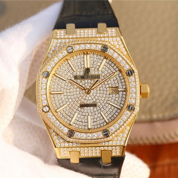 复刻表爱彼 高仿复刻爱彼皇家橡树15400满天星系列18K黄金全表壳镶满钻男士手表