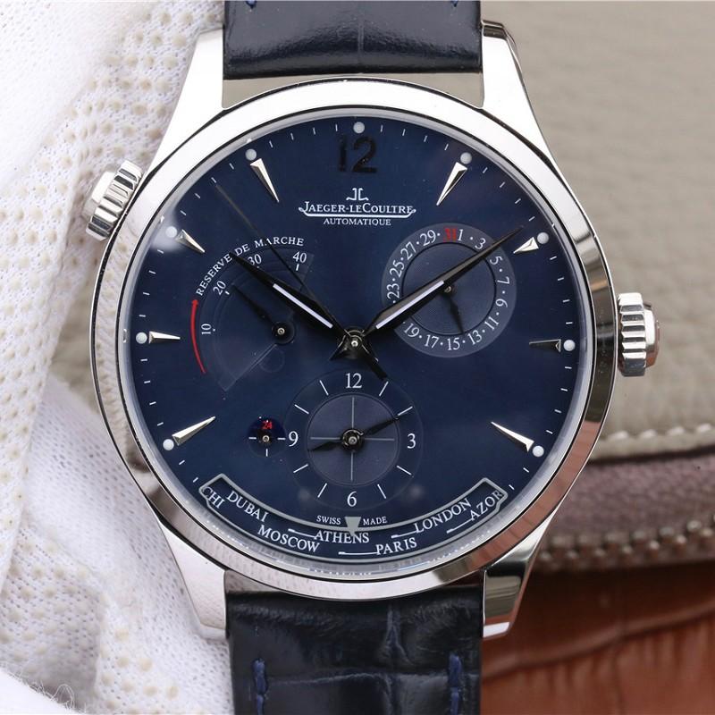 一比一高仿积家手表 高仿积家大师系列1428421蓝盘 男士多功能腕表
