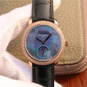 超高仿百达翡丽女表 百达翡丽复杂功能时计系列玫瑰金镶钻女表4968R机械腕表