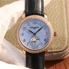 百达翡丽4968高仿 高仿百达翡丽复杂功能时计系列玫瑰金镶钻女士机械腕表