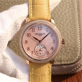 仿百达翡丽复杂功能计时腕表 百达翡丽复杂功能时计系列玫瑰金镶钻 女士机械表