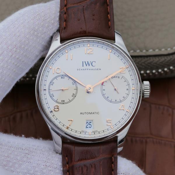 【爆款专供】万国IWC葡萄牙系列IW500704 自动机械男表白面玫瑰金刻度 顶级瑞士7日动能机械机芯