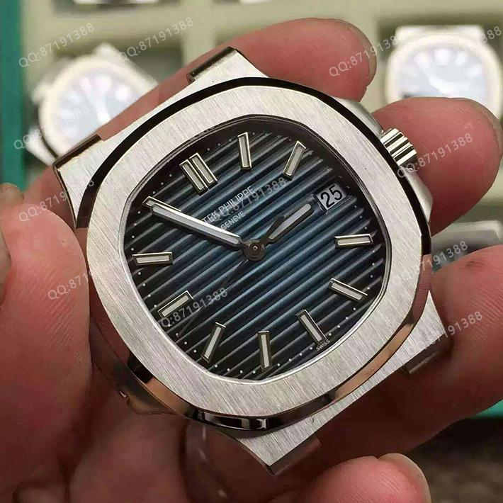 百达翡丽5711/1A-010 一比一高精仿百达翡丽PATEK PHILIPPE Nautilus系列5711/1A-010 Joaillerie休闲版 蓝面三针瑞士机械腕表