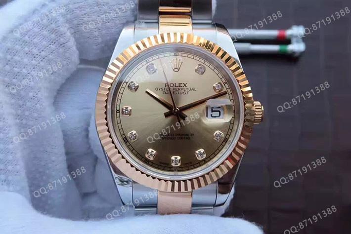 Rolex 劳力士 Datejust 日志型系列126333-0011香槟色面钻标男表