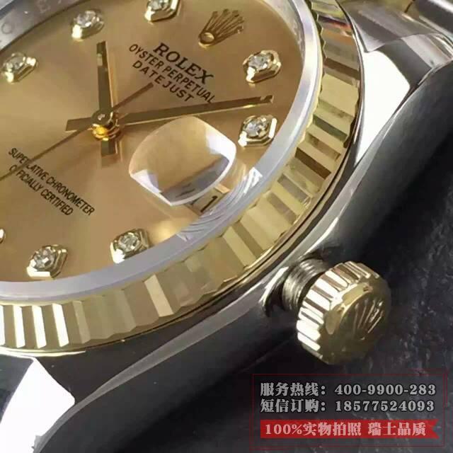 劳力士日志型系列116233香槟盘表侧面细节图