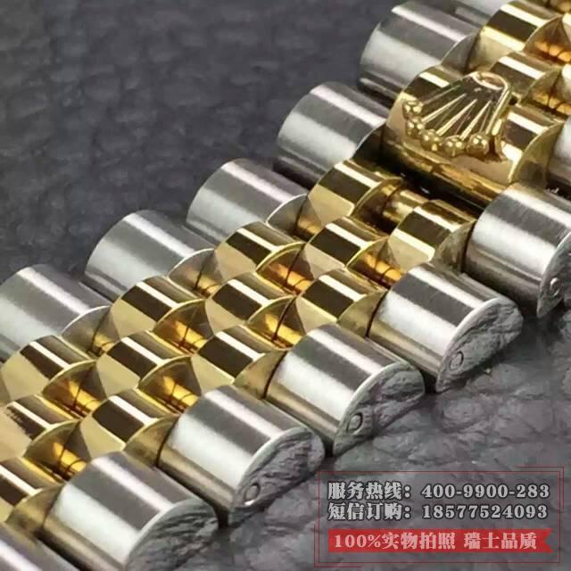 劳力士日志型系列116233香槟盘表链细节图